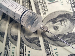syringe with money